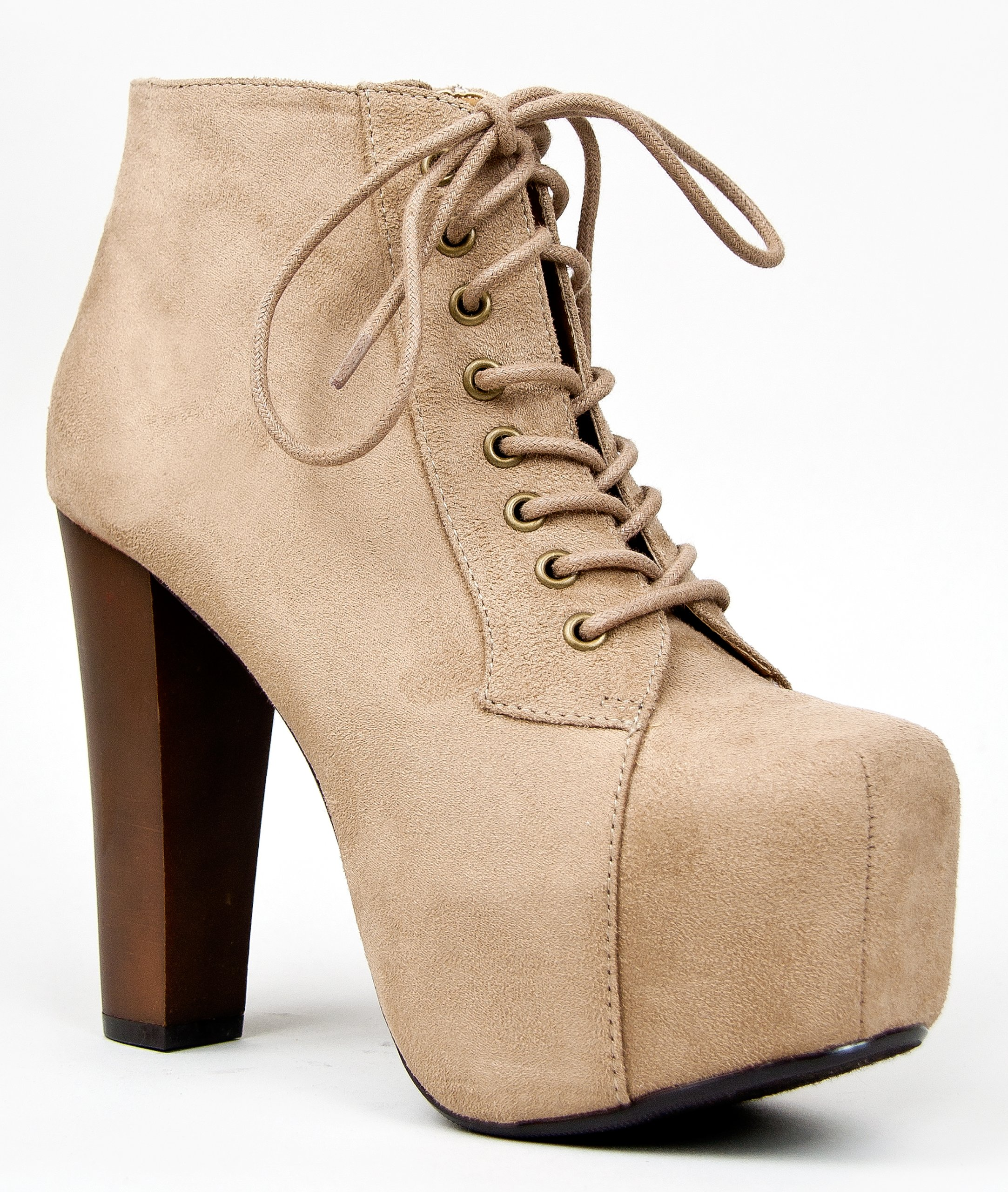 Speed Limit 98 ROSA Designer Inspired Lita Style Chunky High Heel Lace Up Ankle Boot Bootie, Taupe IMSU, 7 B(M) US