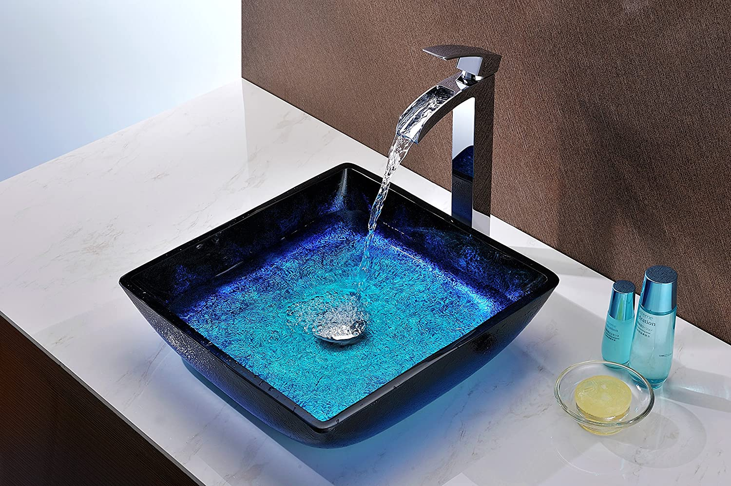 ANZZI Viace Rectangular Tempered Deco Glass Vessel Bathroom Sink in Blazing Blue Top Mount Toilet Sinks Above Counter Square Vanity Countertop Sink Bowl with Pop Up Drain LS-AZ056