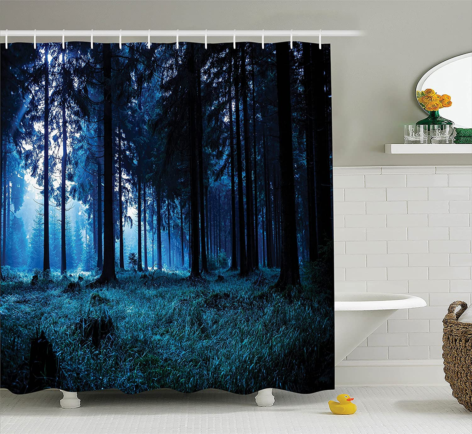 Night Scene of Autumn Forest in Thuringia Germany Foggy Pine Trees with Greenery Image Navy Blue Ambesonne Room Decorations Collection Polyester Fabric Bathroom Shower Curtain Set with Hooks