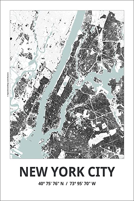 Map Of New York Poster.Amazon Com Spitzy S Map Of New York City New York 12 By 18 Inch
