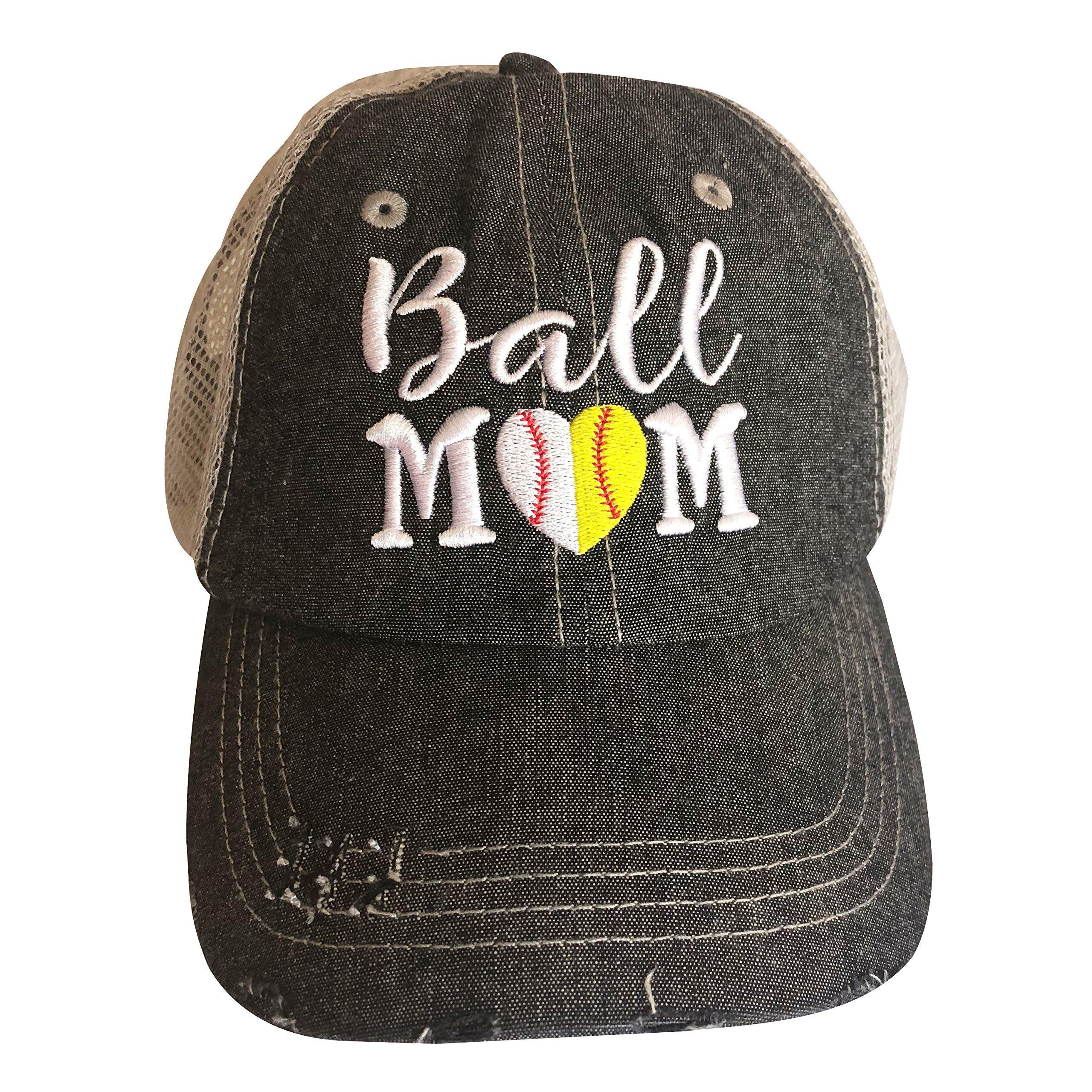 Cocomo Soul Embroidered Ball MOM Softball Mom Baseball Mom Mesh Trucker Style Hat Cap