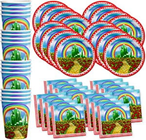 The Wonderful Wizard of Oz Birthday Party Supplies Set Plates Napkins Cups Tableware Kit for 16