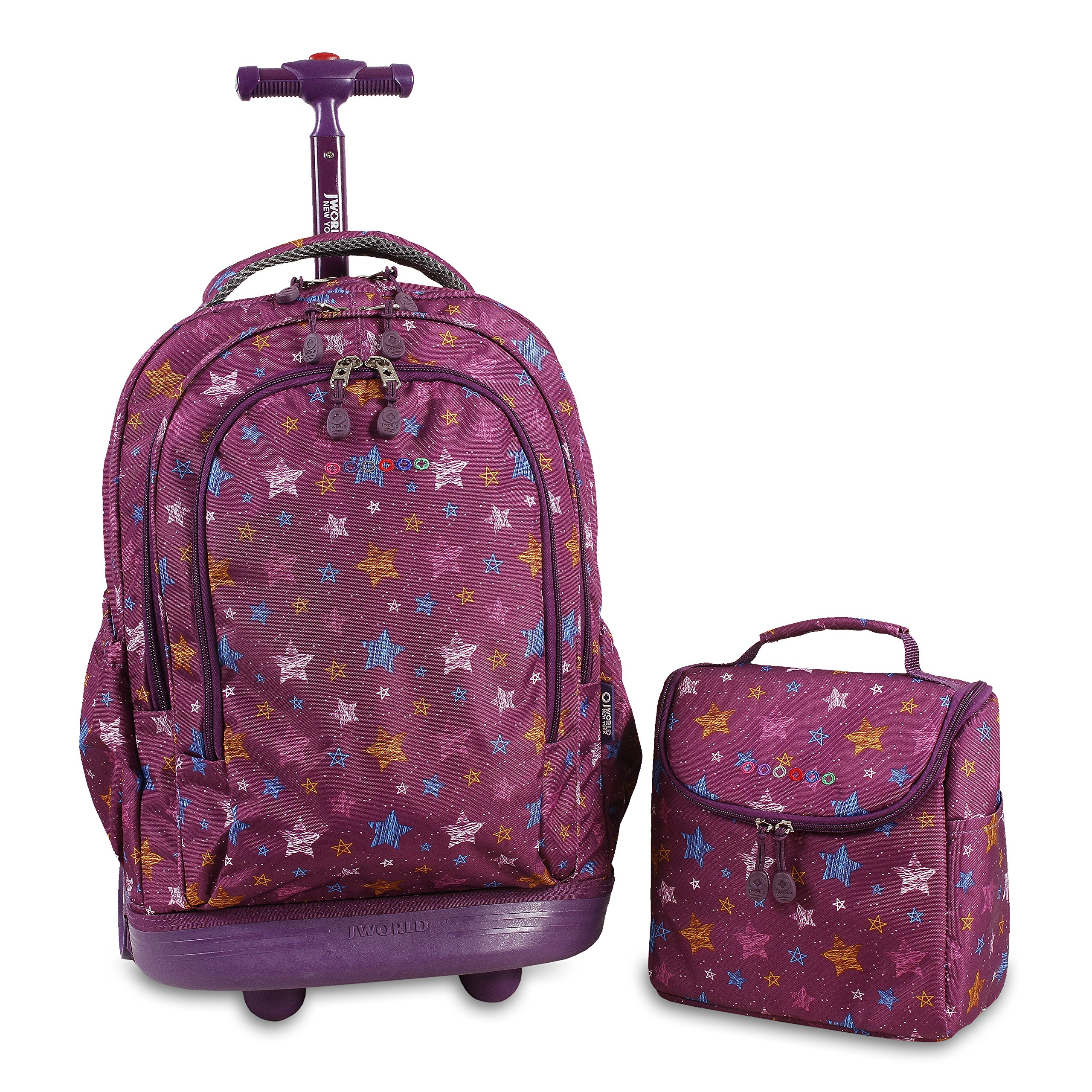 J World New York Setbeamer Rolling Backpack with Lunch Bag (Stars)
