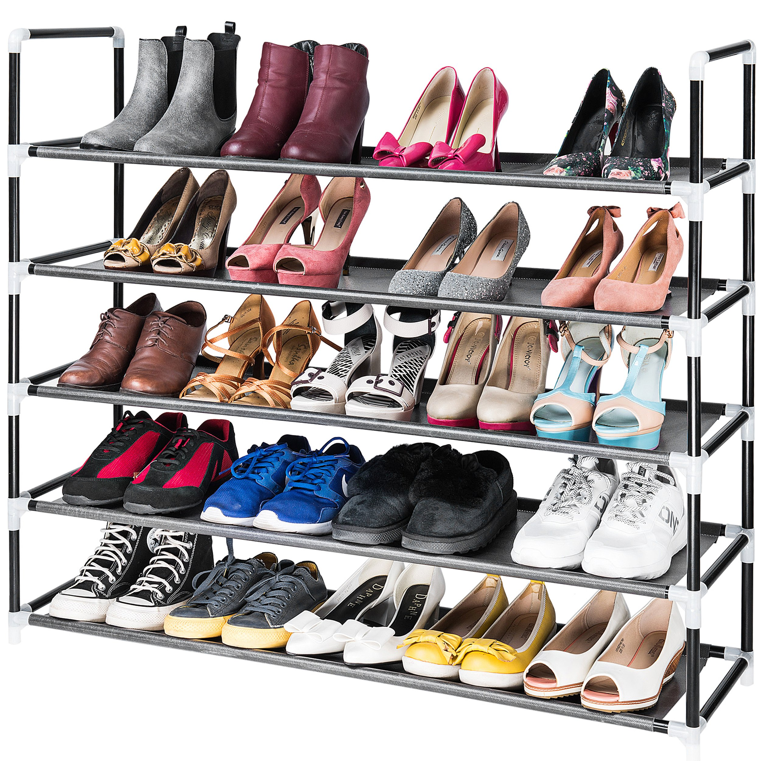Elvoes 5 Tiers Dustproof Shoe Rack Storage Iron Shoe Shelves Simple Multi-layer Assembly Shoe Organizer-black