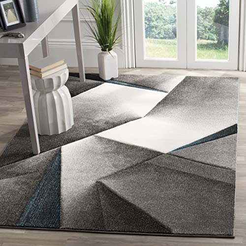 Safavieh Hollywood Collection HLW714D Grey and Teal Mid-Century Modern Abstract Area Rug 6 7 x 9