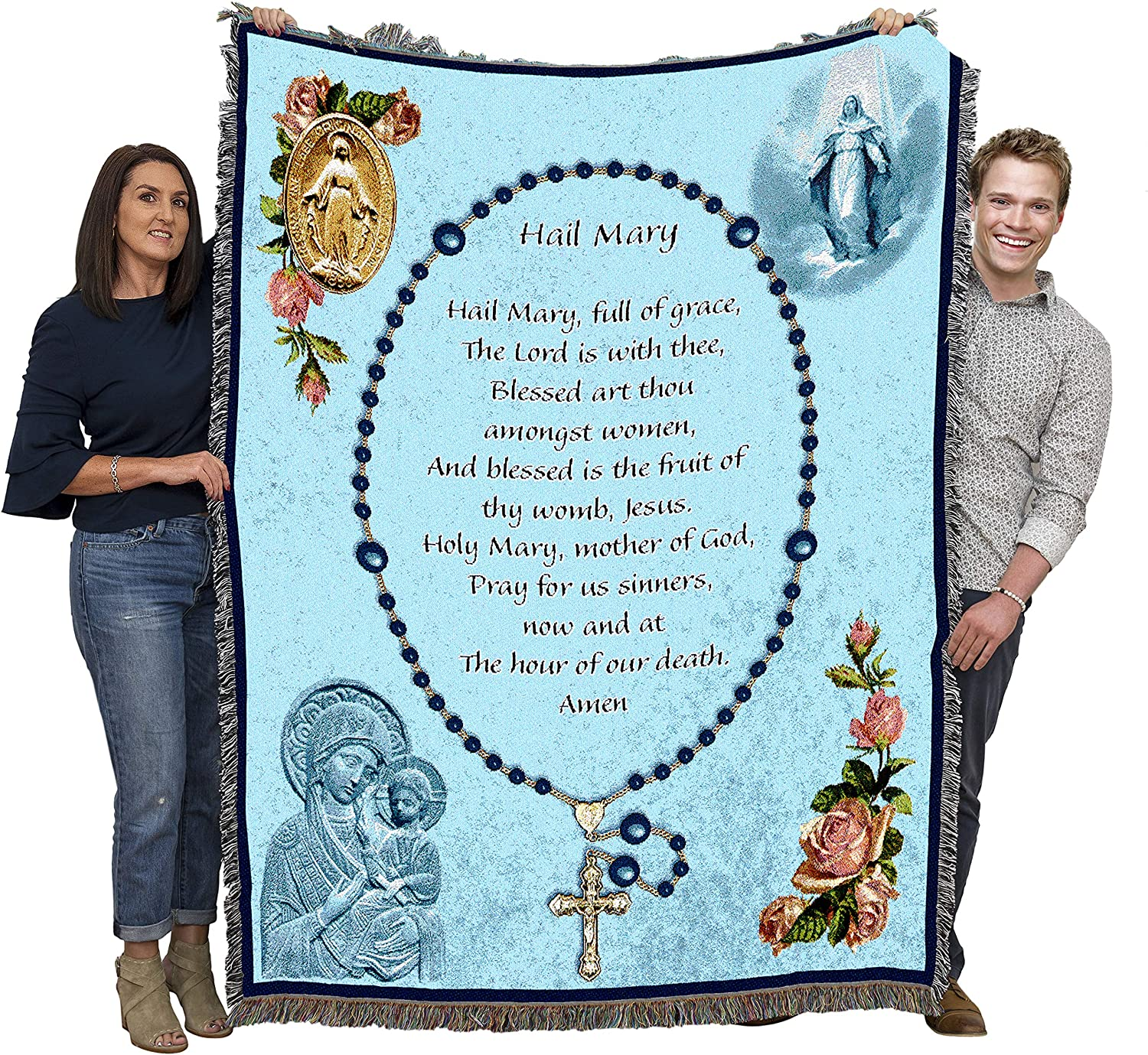 Pure Country Weavers Hail Mary Rosary Prayer Blanket Throw Woven from Cotton - Made in The USA (72x54)