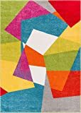 Art Deco Geos Multi Cubes Yellow Orange Blue Modern
