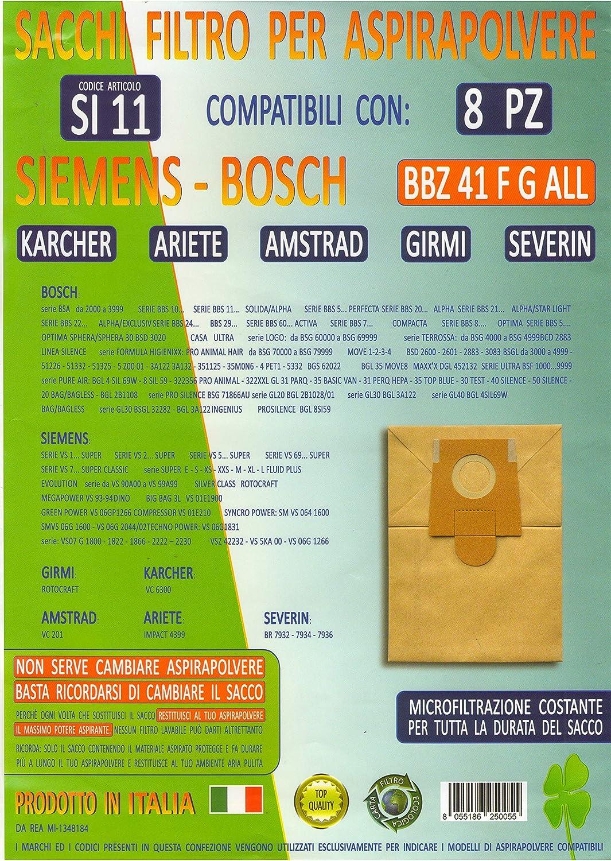 si11 paquete 8 Bolsas BBZ 41 °F G All para aspirador Siemens Bosch Karcher Ariete Amstrad Girmi Severin comprobar compatibilidad de foto: Amazon.es: Hogar