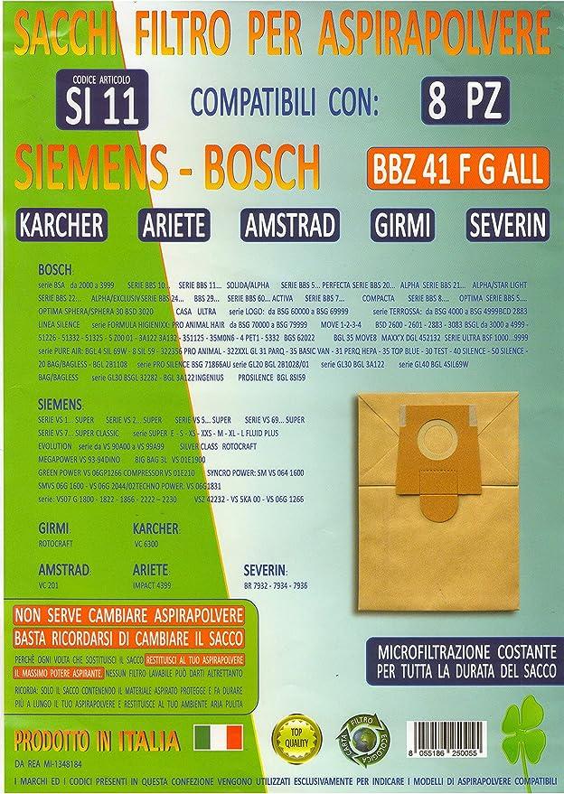 si11 paquete 8 Bolsas BBZ 41 °F G All para aspirador Siemens Bosch ...