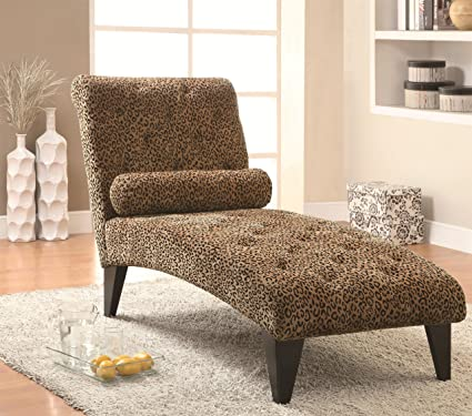 Enjoyable Coaster Home Furnishings Transitional Chaise Leopard Print Beatyapartments Chair Design Images Beatyapartmentscom