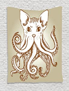 """Ambesonne Octopus Tapestry, Octopus with Cat Head Illustration Vintage Style Cartoon Cat with Tentacles Print, Wall Hanging for Bedroom Living Room Dorm Decor, 40"""" X 60"""", White Grey"""