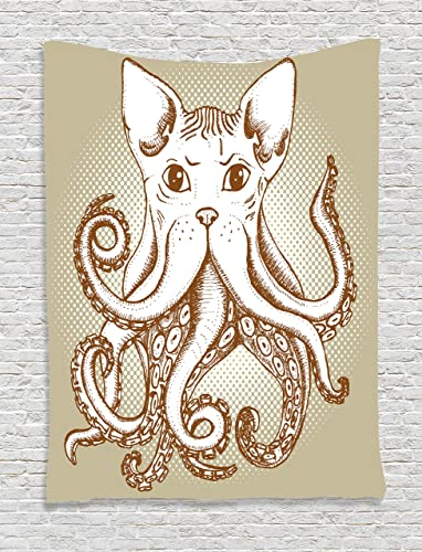Ambesonne Octopus Tapestry, Octopus with Cat Head Illustration Vintage Style Cartoon Cat with Tentacles Print, Wall Hanging for Bedroom Living Room Dorm, 60 X 80 , White Grey