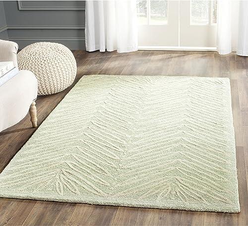 Safavieh Martha Stewart Collection MSR3612D Premium Wool and Viscose Chevron Leaves Milk Pail Green Area Rug 4' x 6'