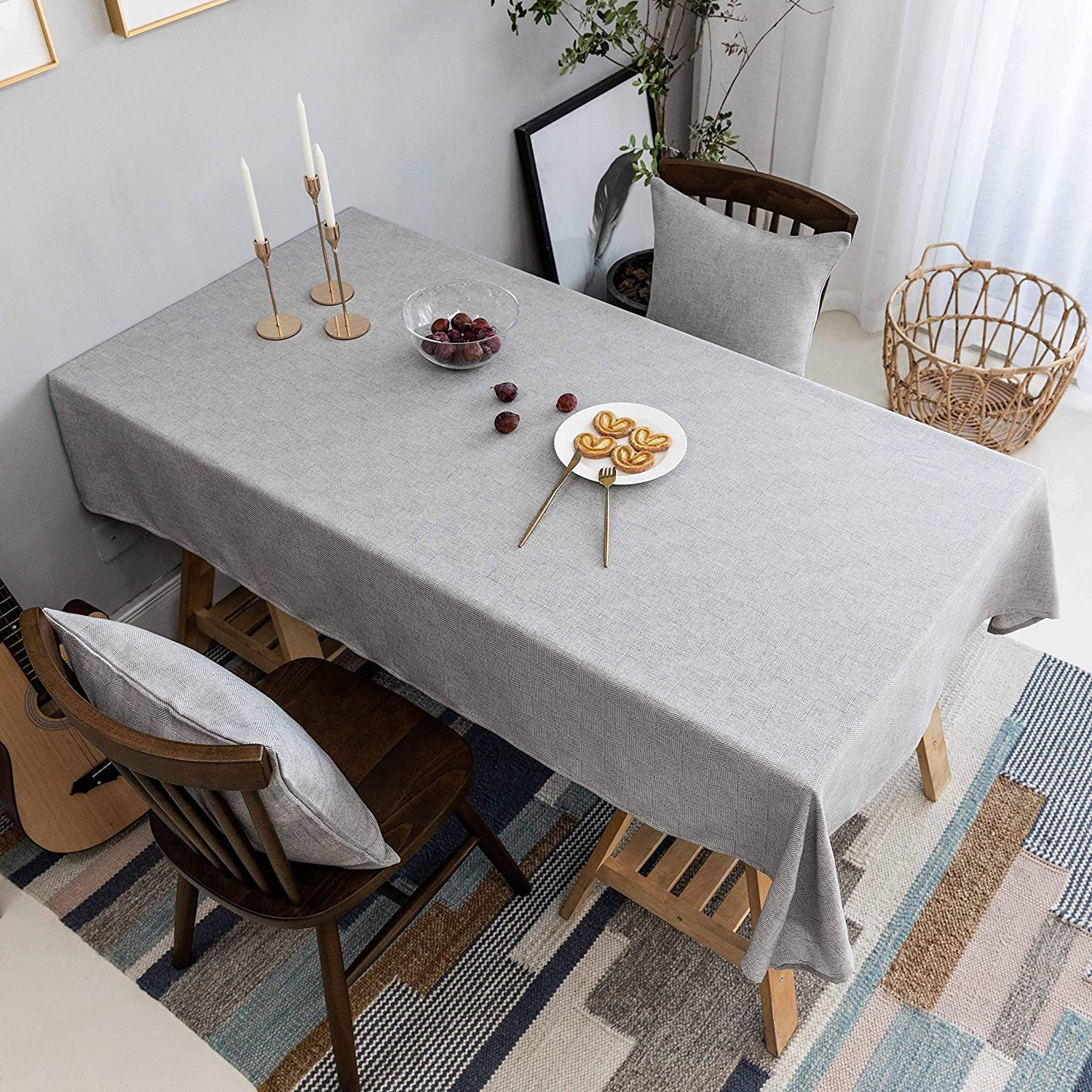 Home Brilliant Tablecloth Solid Farmhouse Checker Grey Table Covers for Party Kitchen Indoor Outdoor Table Clothes for Dining Table, 52x102 inch, Light Grey
