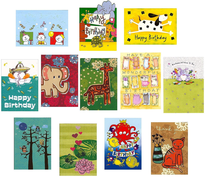 Greetingsbox Card Packs - Juego de tarjetas de cumpleaños (12 unidades), diseño de animales