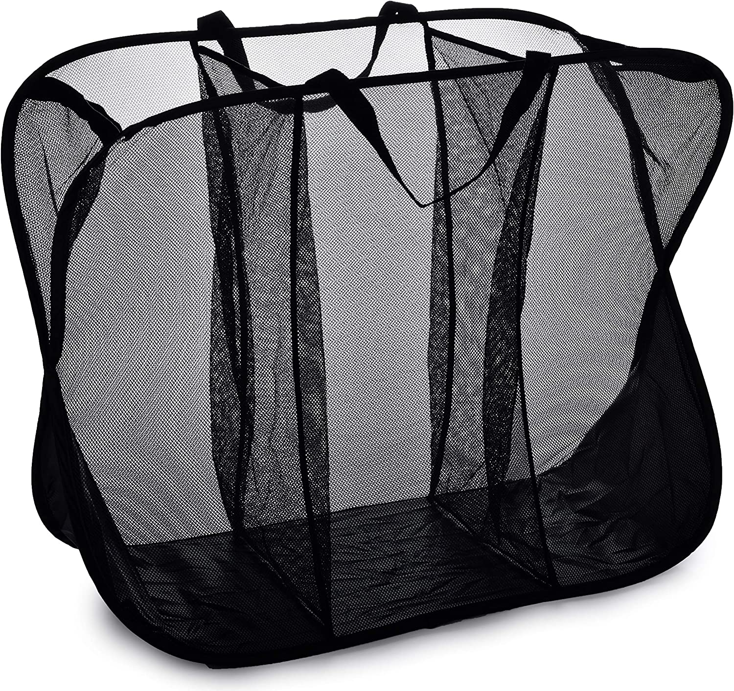 Three Compartment Popup Hamper - Durable Mesh Material, Folds for Storage, Handles to Carry Easily to The Laundry Room. Folding Pop-Up Laundry Hampers are Great for College Dorm or Travel. (Black)