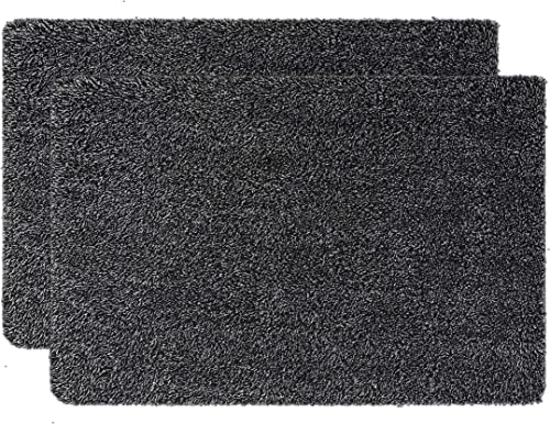 Ivalue 24 x36 Indoor Doormats Front Door Mats Rubber Backing Mud Mats Entry Rugs Absorb Water Moisture Dirt Trapper Mats Low-Profile Entrance Door Rugs Pet Mats Pack of 2 24 x 36 , Black and White