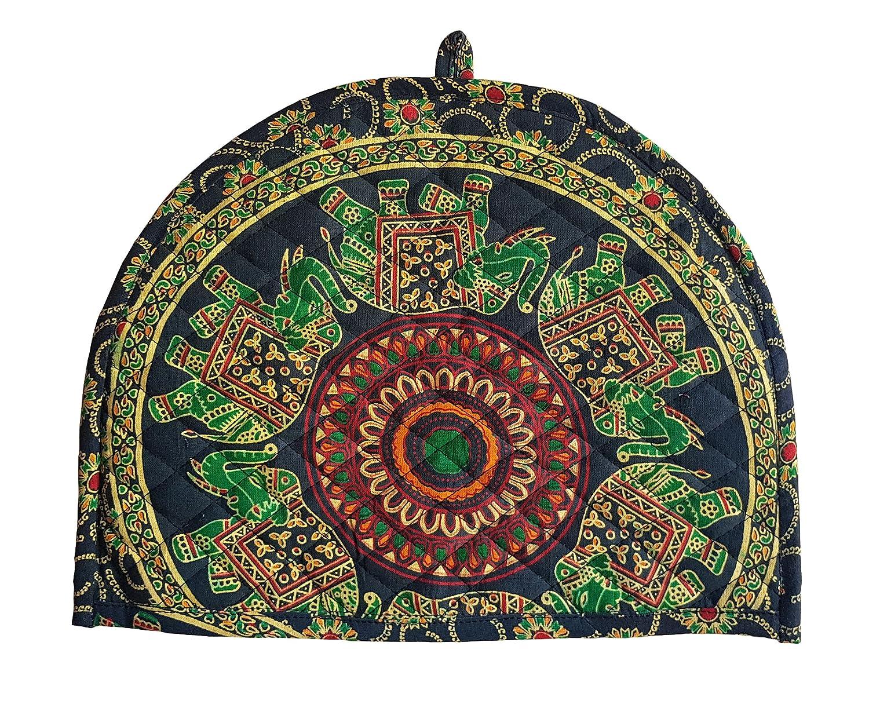 Indian Cotton Mandala Green Tea Cosy Elephant Printed Abstract Tea Pot Décor Cover Traditional Tea Quilt Floral Warmer Tea Cozies Insulated Gift Marudhara Fashion TEA00006