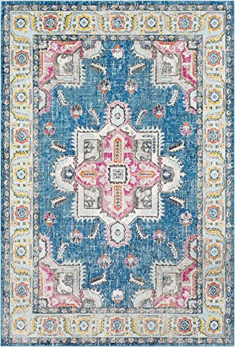 Jesse Sky Blue and Bright Pink Updated Traditional Area Rug 2' x 3'