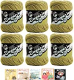 (Jute 00082) - Bulk Buy: Lily Sugar'n Cream Yarn 100% Cotton Solids and Ombres (6-Pack) Medium 4 Worsted Plus 5 Lily Patterns (Jute 00082)