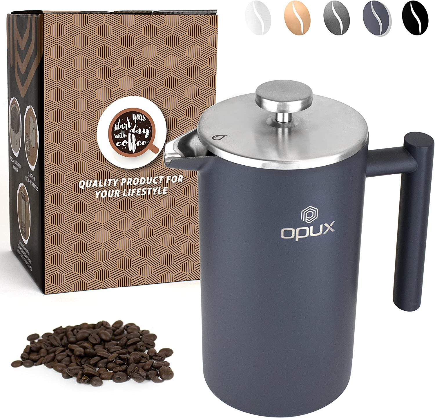 OPUX Premium Stainless Steel French Press, Double Wall Coffee Maker Thermal Insulated Press Pot 34 fl oz 1 Liter, Dishwasher Safe, Extra Filters Matte Grey