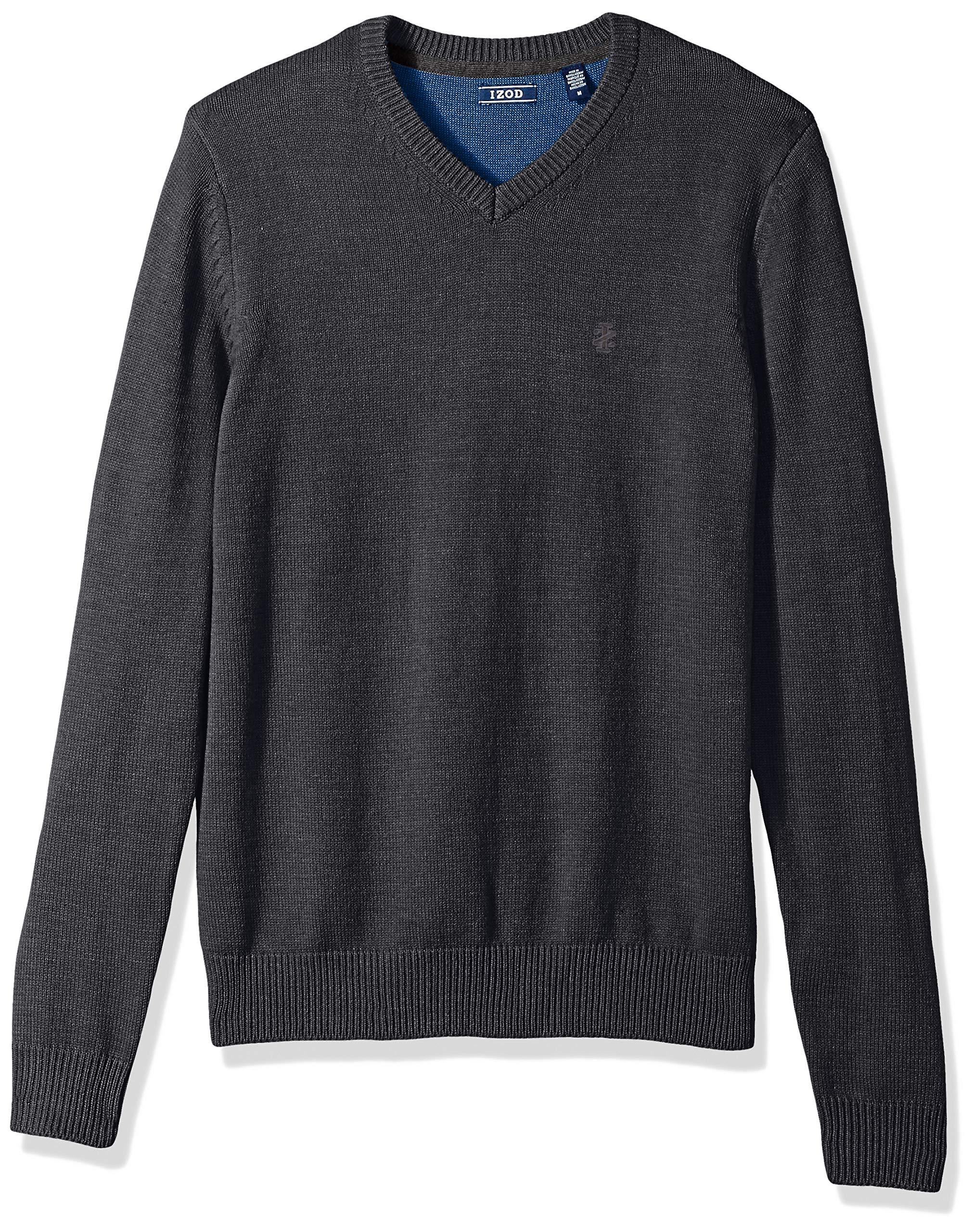 IZOD Men's Premium Essentials Solid V-Neck 7 Gauge Sweater, New Asphault, Medium