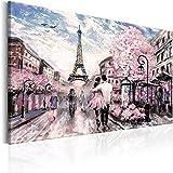 murando - Cuadro en Lienzo 120x80 cm - Paris impresión en material tejido no tejido cuadro de pared foto impresión artística fotografía imagen gráfica decoración Torre Eiffel Paisaje Rosa d-B-0147-b-a