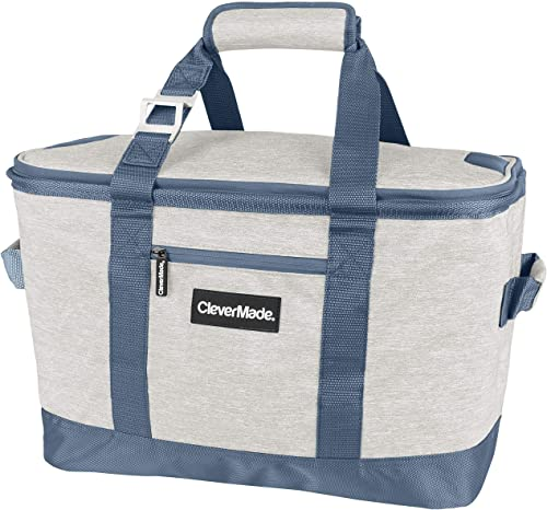 CleverMade Collapsible Cooler Bag Insulated Leakproof 50 Can Soft Sided Portable Cooler Bag for Lunch, Grocery Shopping, Camping and Road Trips, Light Grey Denim 7060-LGRY-42201PK