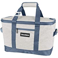 CleverMade Collapsible Cooler Bag: Insulated Leakproof 50 Can Soft Sided Portable Cooler Bag for Lunch, Grocery Shopping, Camping and Road Trips, Light Grey/Denim