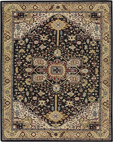 Capel Rugs Smyrna-Serapi Rectangle Hand Tufted Rug, 9 6 x 13 6 , Ebony Yellow