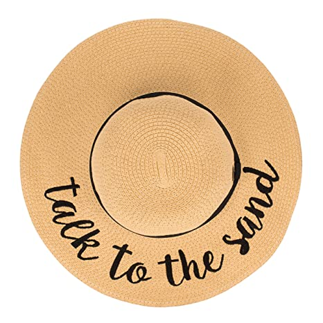 31d340d8 Hatsandscarf CC Exclusives Straw Embroidered Lettering Floppy Brim Sun Hat  (ST-2017) (Aloha Beaches) at Amazon Women's Clothing store: