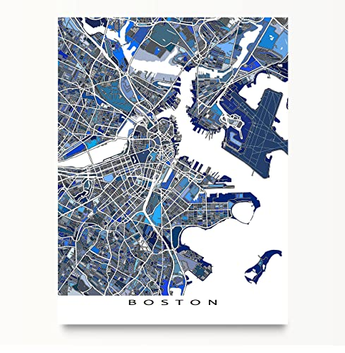 Amazoncom Boston Map Print Massachusetts USA City Street Art
