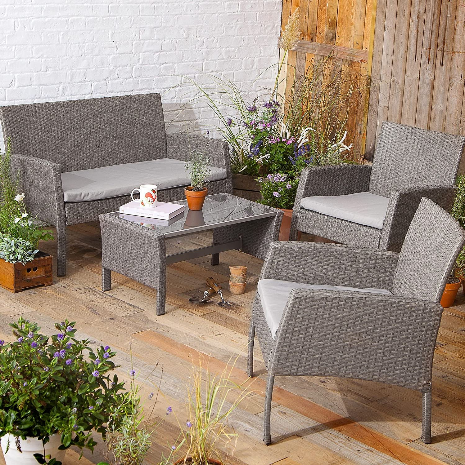 Tesco NEW San Marino 10 Piece Rattan Garden Lounge Set Table Bench