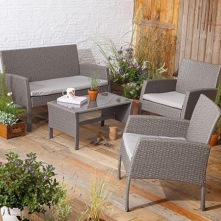 New tesco san marino 4 piece rattan garden lounge set table bench 2 chairs