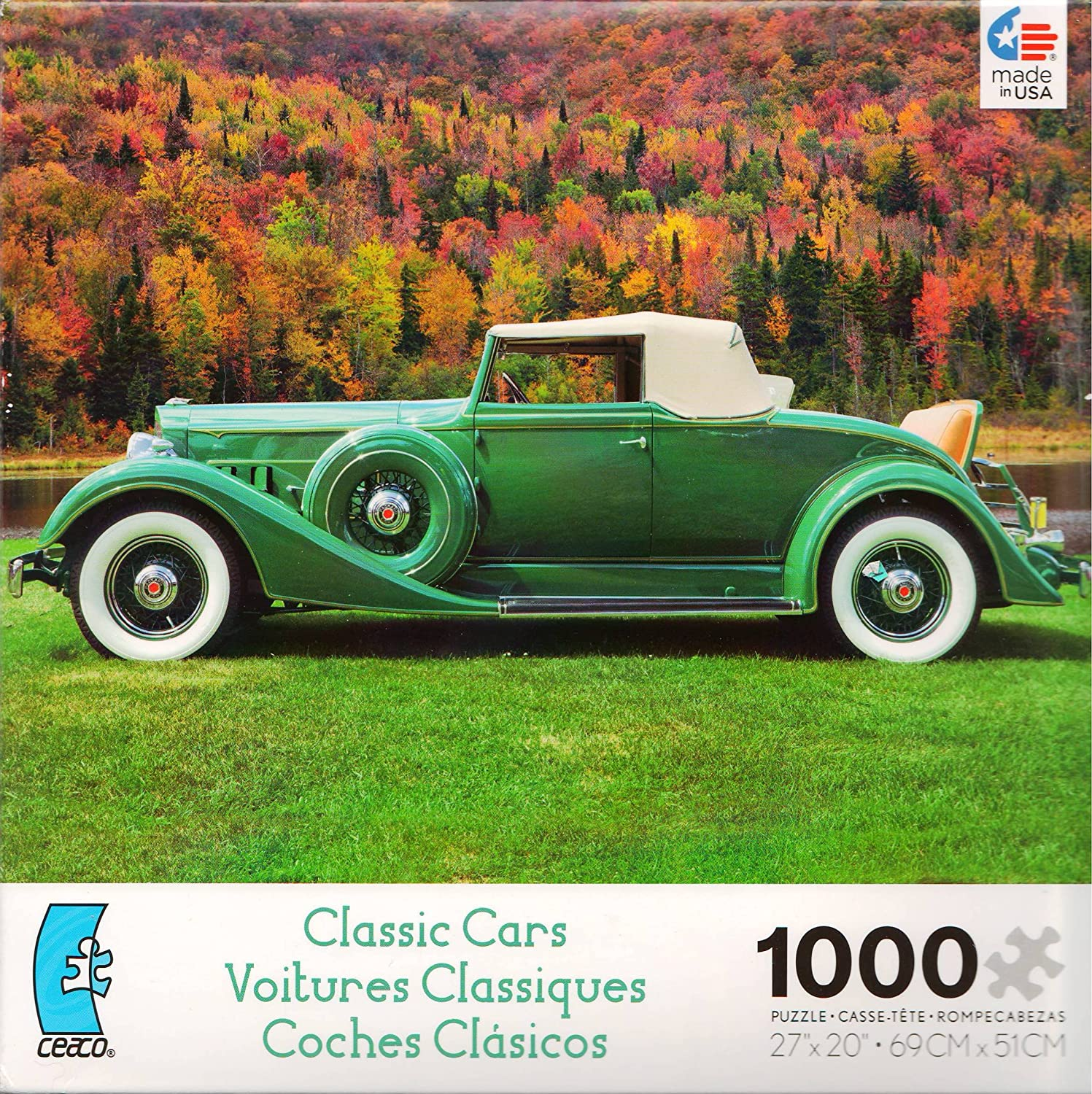 Classic Cars Green 1000 Pc Jigsaw Puzzle by Ceaco Series 3363-2