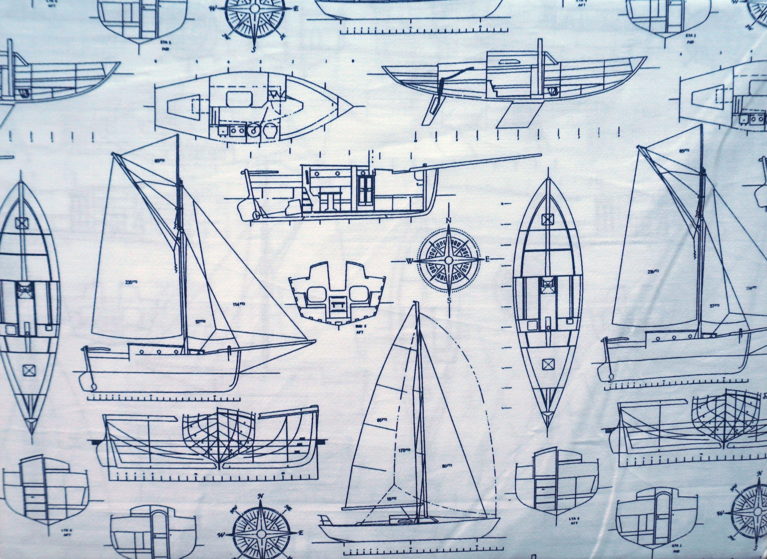 Max Studio Kids 3 Piece Kids Twin Sheet Set Navy Nautical Yachts Ships Sailboats Plans Drawings
