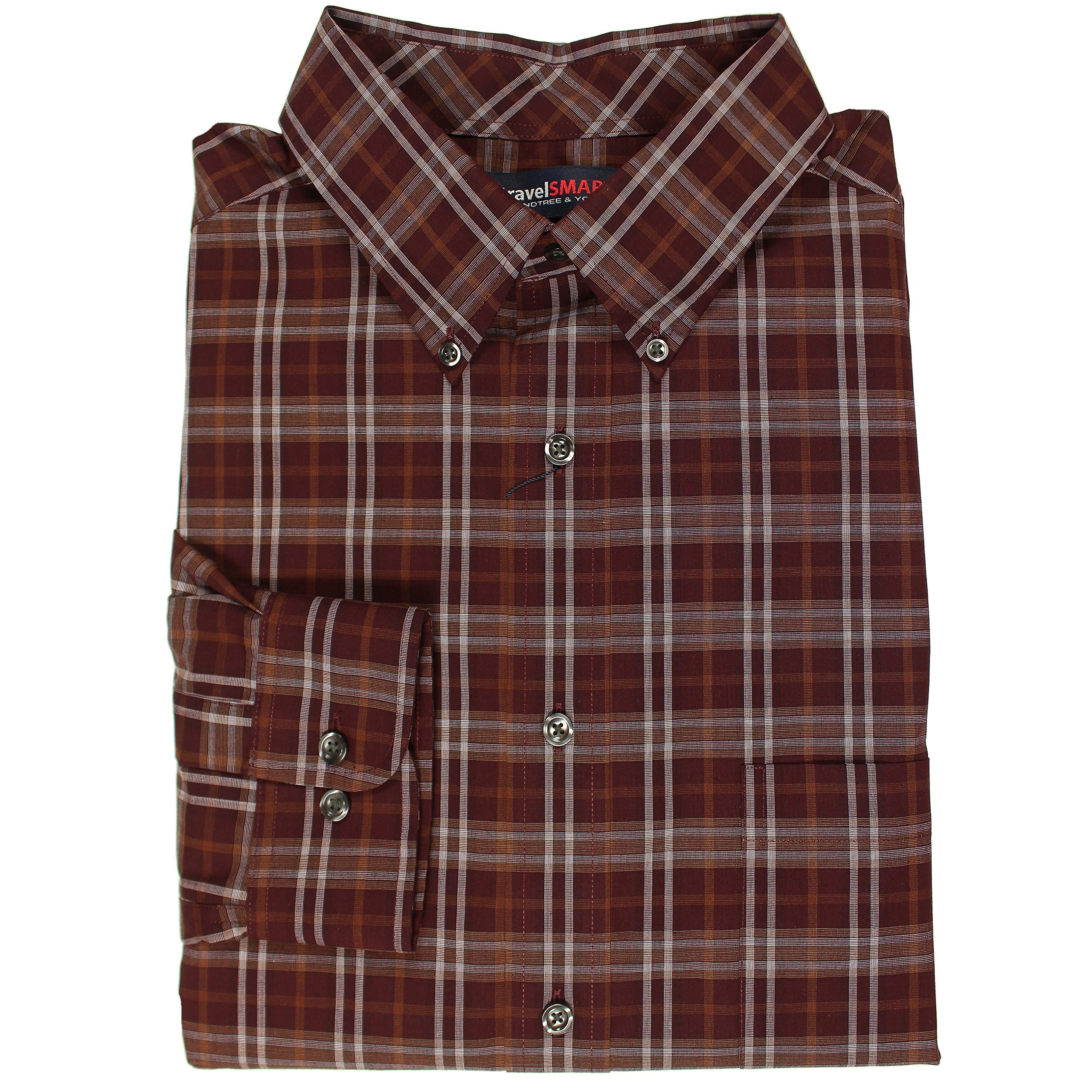 Roundtree & Yorke TravelSMART Wrinkle Resistant Easy-Care Men's Big & Tall Long Sleeve Shirt (Burgundy Windowpane Plaid, 3X Big)
