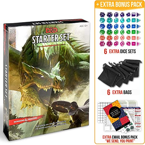 Dungeons and Dragons 5th Edition Starter Set with DND Dice and Complete  Printable Starter Kit - Popular DND Rolling Board Game Fifth Edition - D&D  5e