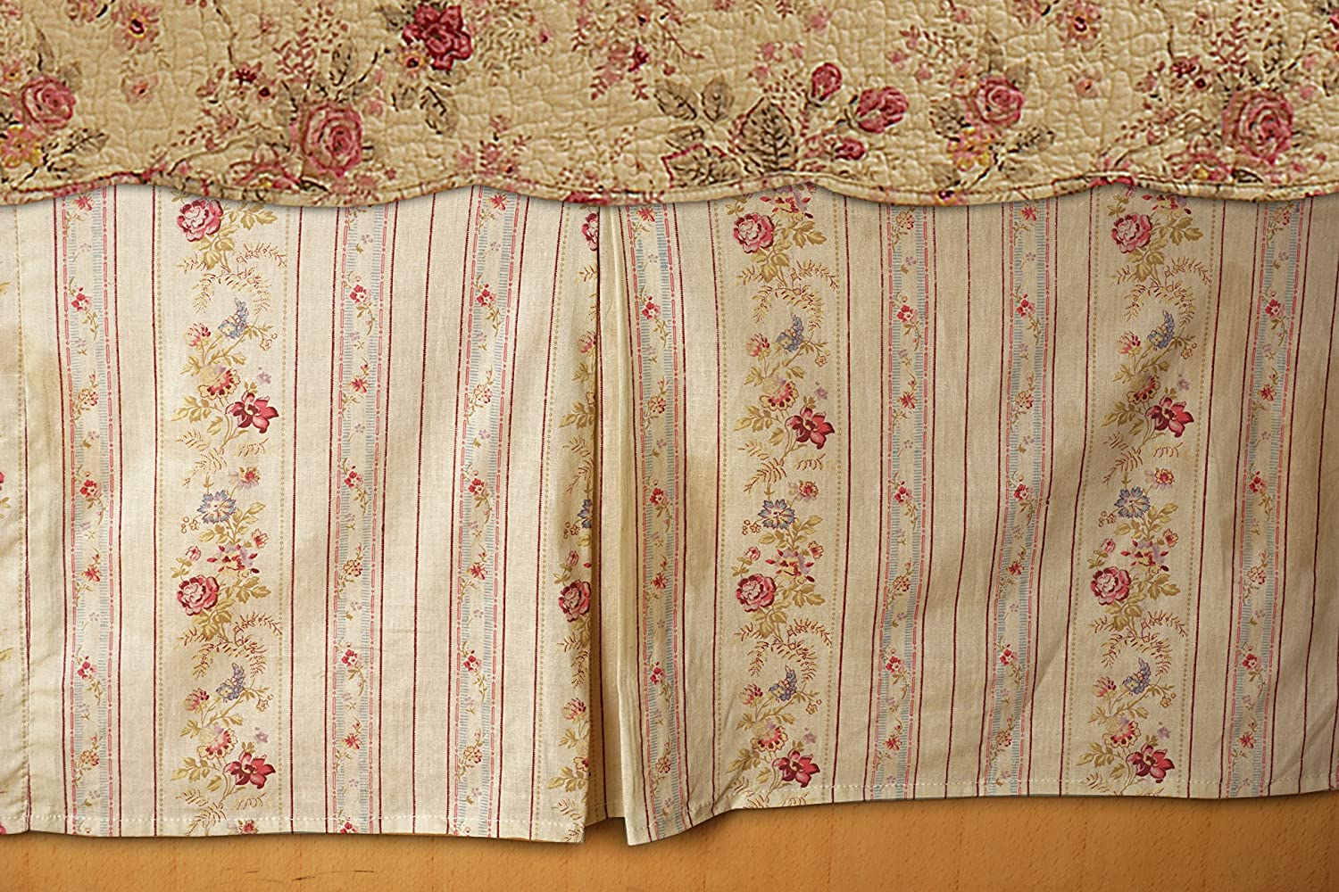 Greenland Home GL-WB0726-BSKQ Antique Rose Bed Skirt, Queen