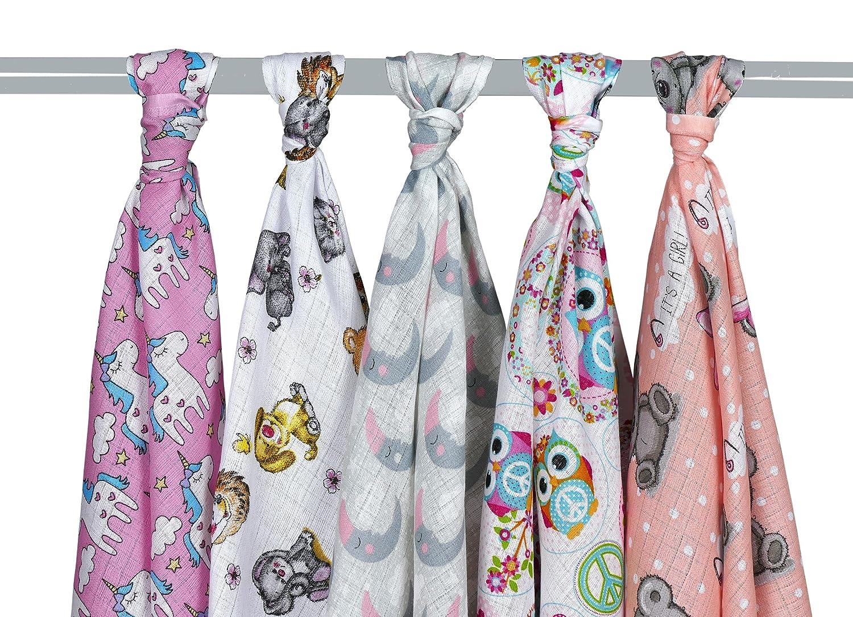 Mullwindel/Spucktücher/Stoffwindeln, für Mädchen, 5er Pack, bunt, 80x80 cm, 100% Baumwolle, doppelt gewebt, zertifizierte Herstellung (Mädchen) für Mädchen KiGATEX