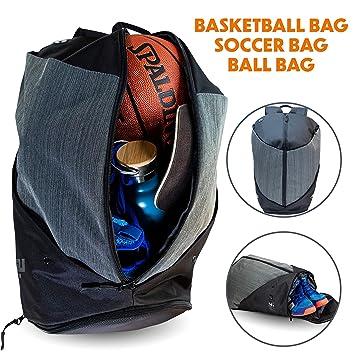 Amazon.com: Mochila de baloncesto con soporte para pelotas ...