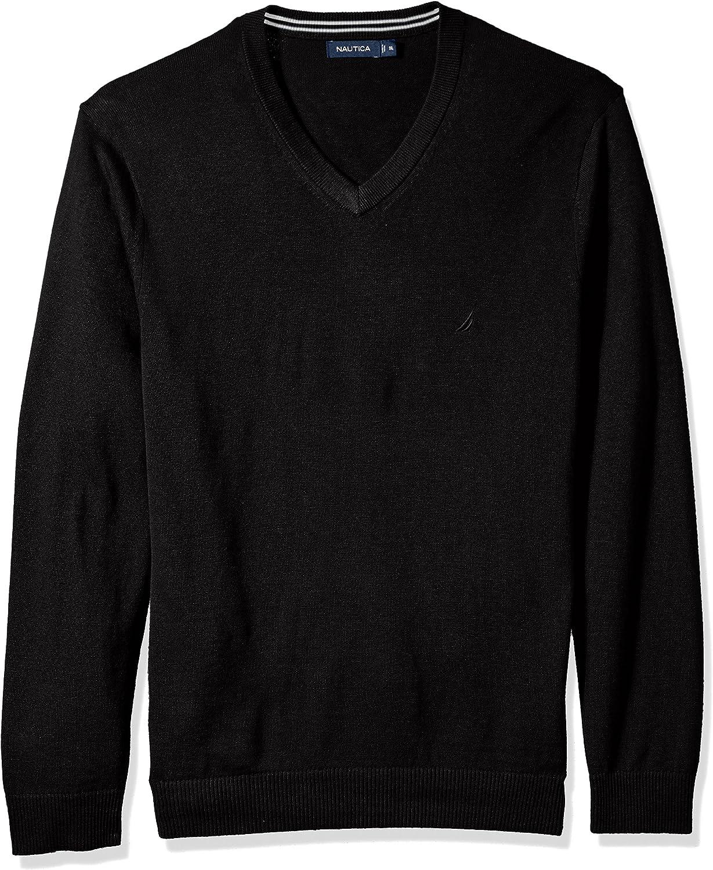 Nautica Mens Long Sleeve Cotton Blend Basic Vee Neck Sweater