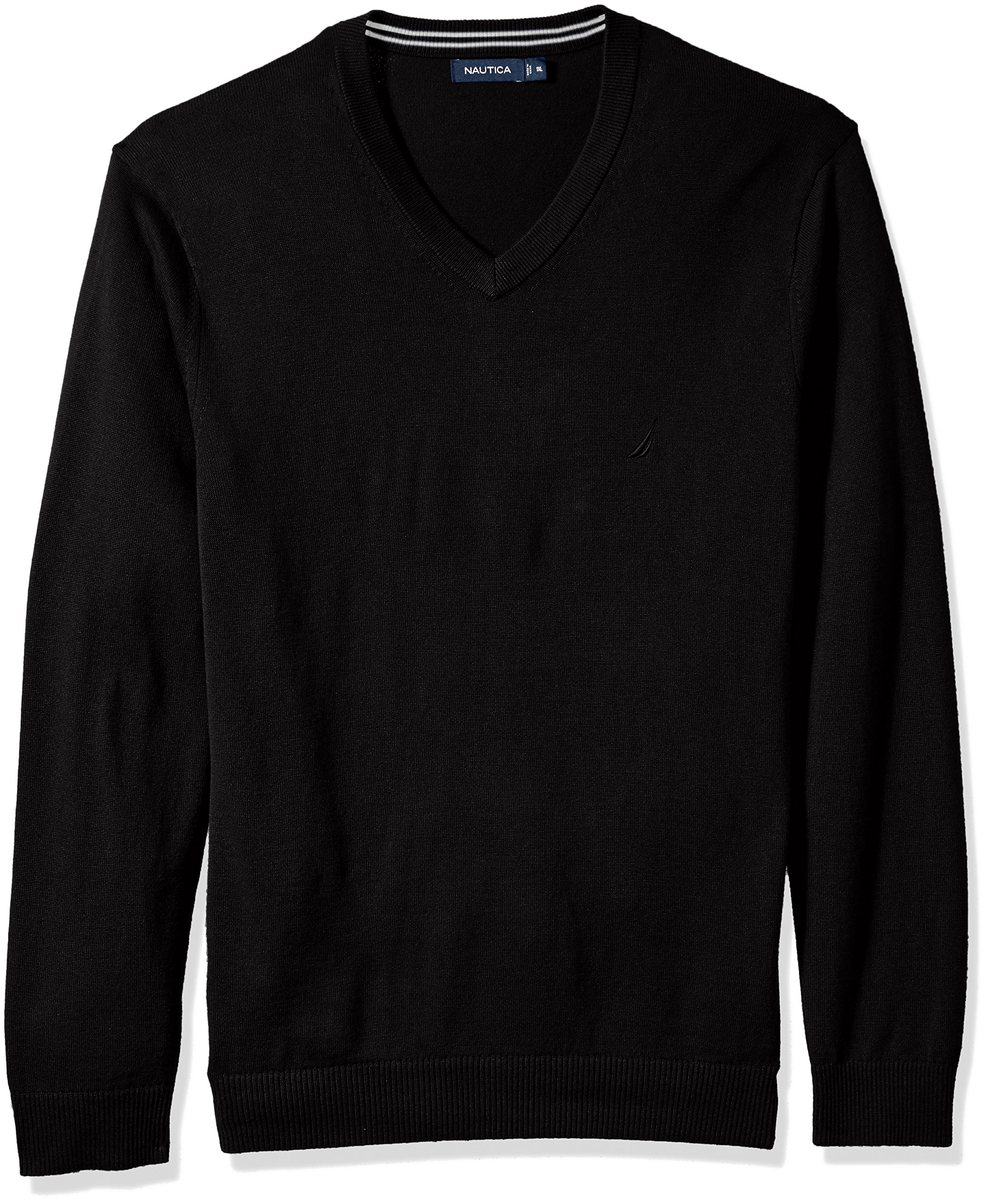 Nautica Men's Standard Long Sleeve Solid Classic V-Neck Sweater, True Black, Large by Nautica