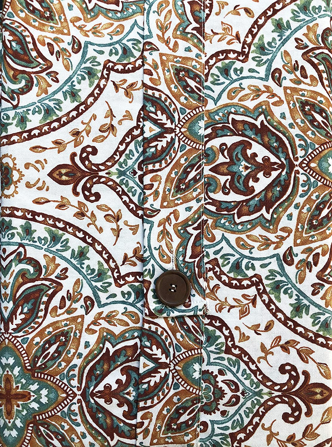 60 Inches by 102 Inches Envogue Fabric Tablecloth Exotic Boho Medallion Pattern in Shades of Rust Blue Orange Taupe on White