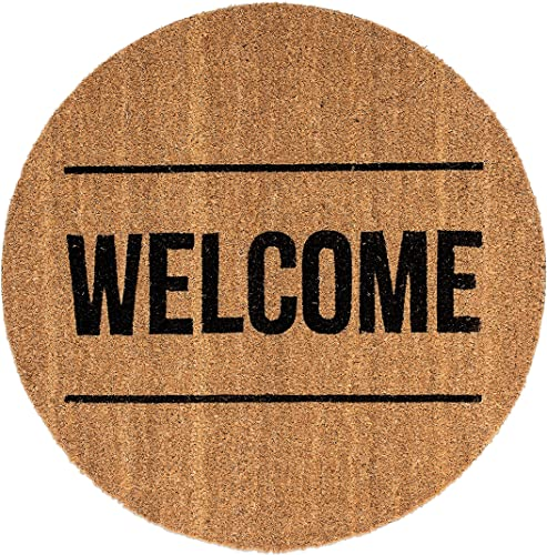 Bloomingville A76504957 Round Coir Door Mat with Welcome, Natural
