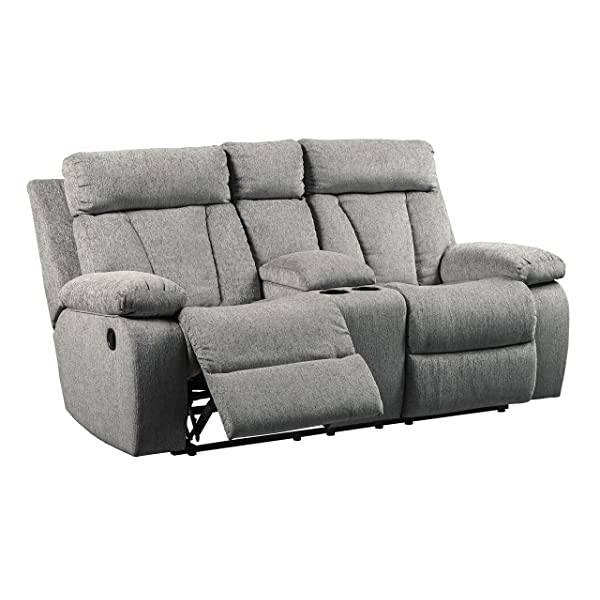 Signature Design by Ashley 7620494 Mitchiner Reclining Loveseat with Console, Fog