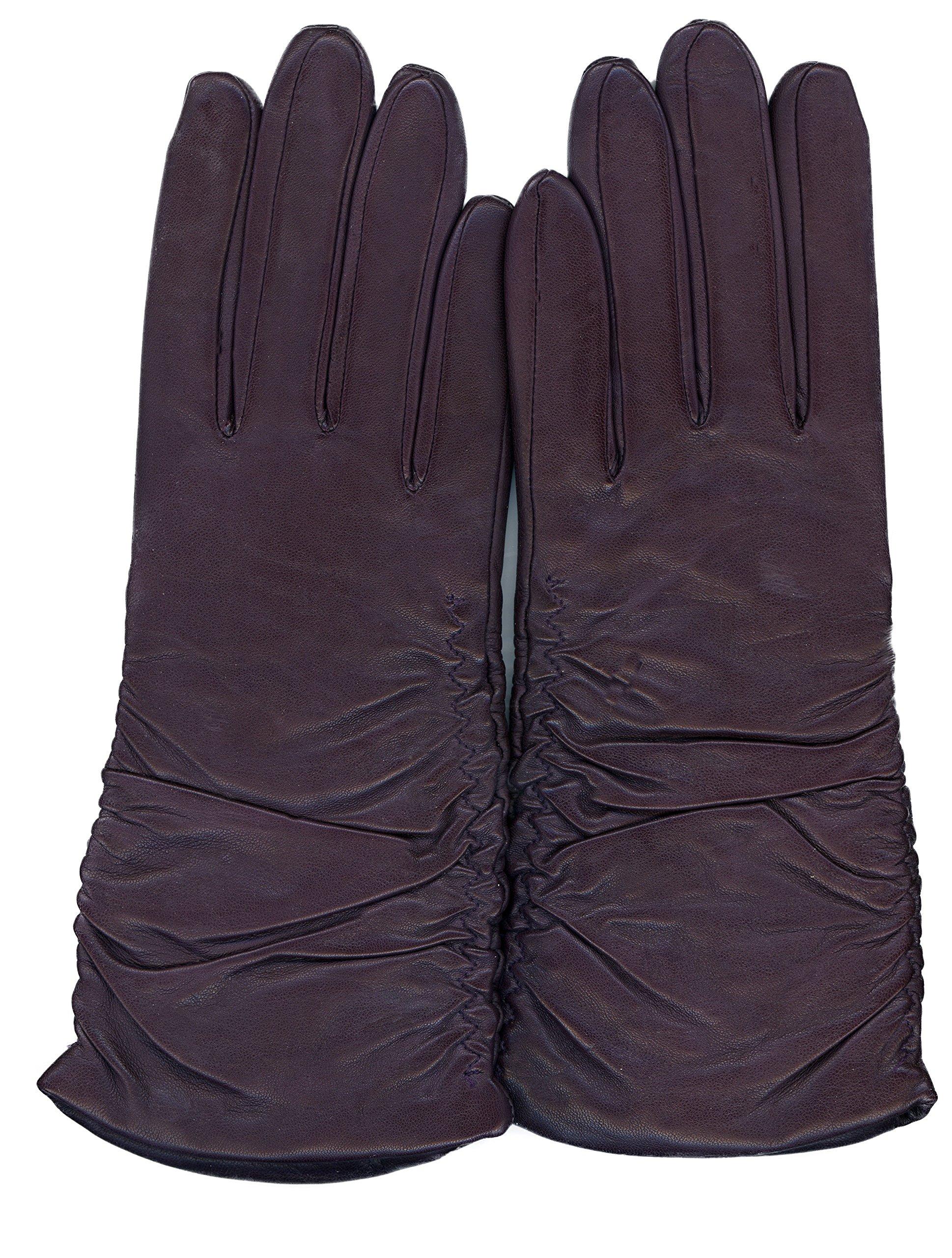 GRANDOE Women's PARIS Ruched Sheepskin Leather Glove Cashmere Blend 3 btn length (Plum, X-Large)