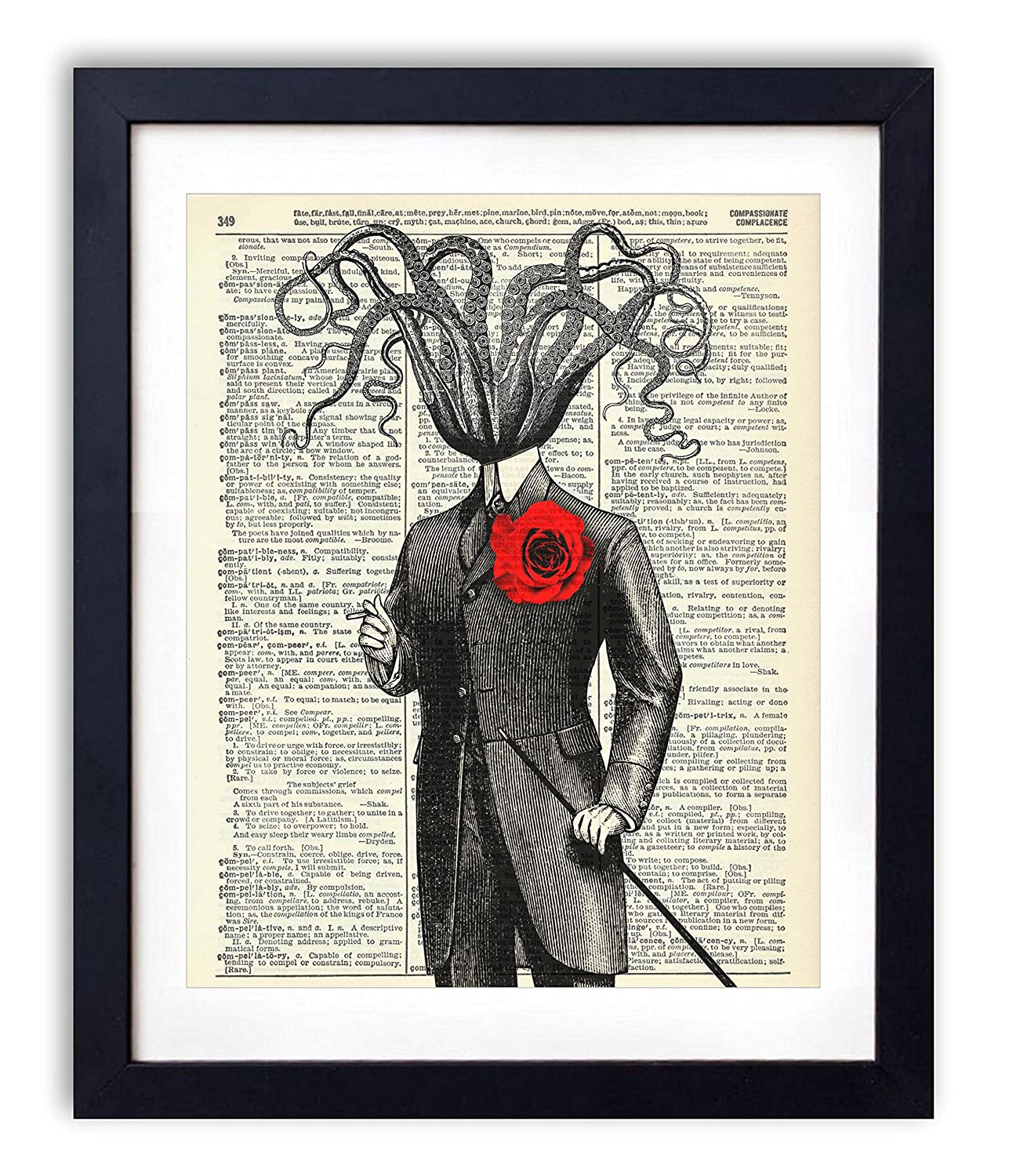Victorian Gentleman Octopus With Red Rose Upcycled Wall Art Vintage Dictionary Art Print 8x10 inches / 20.32 x 25.4 cm Unframed