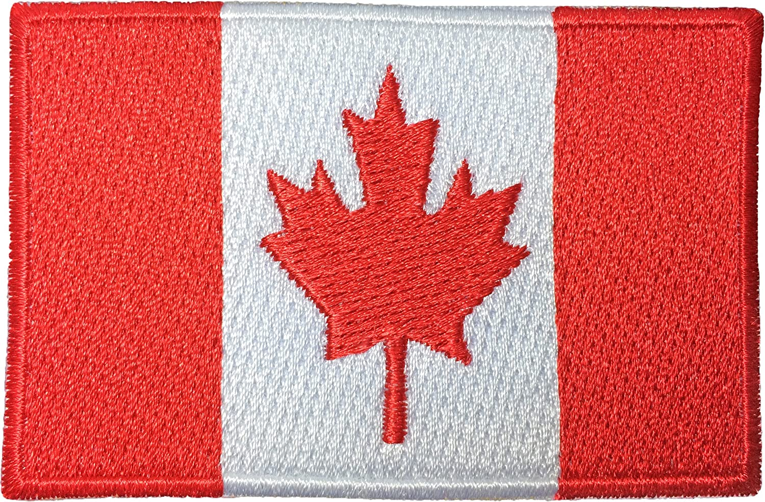 CANADIAN FLAG EMBROIDERED IRON-ON PATCH CANADA EMBLEM MAPLE LEAF applique RED