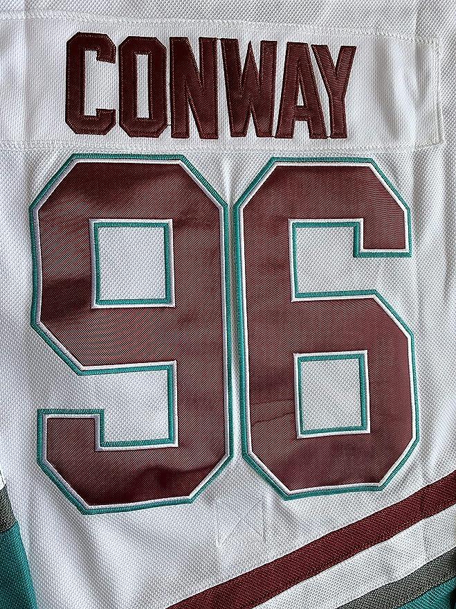 Camiseta de hockey sobre hielo color verde y blanco Charlie Conway #96 Mighty Ducks Adam Banks #99